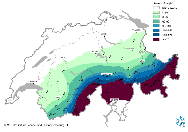 Observed snow depth in percentage when compared to a long-term average of at least 10 years